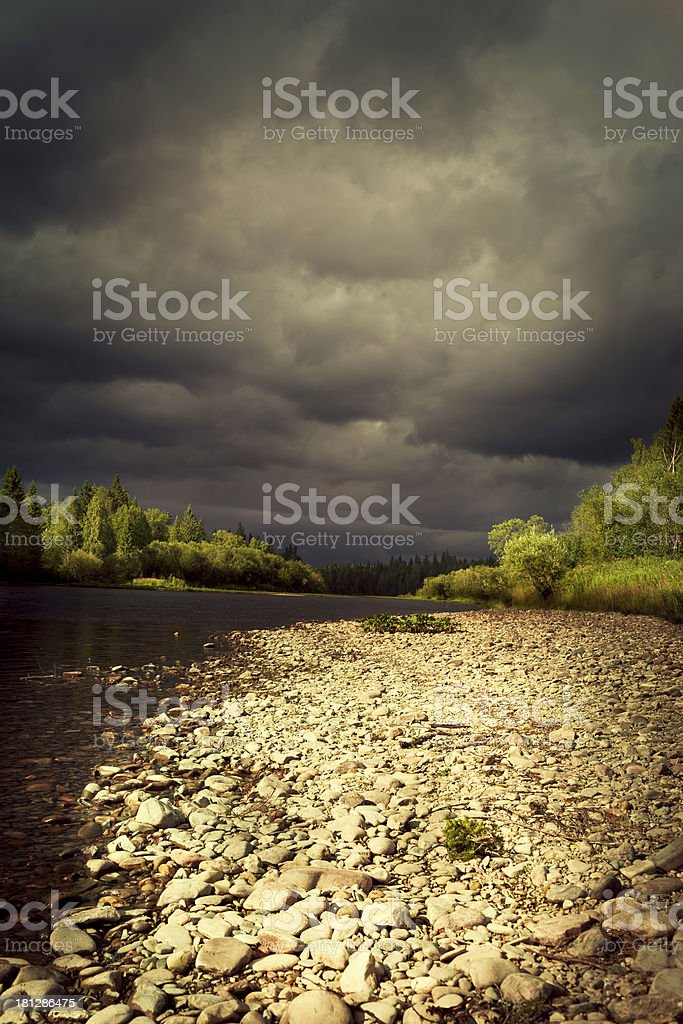 storm clouds over the river royalty-free stock photo