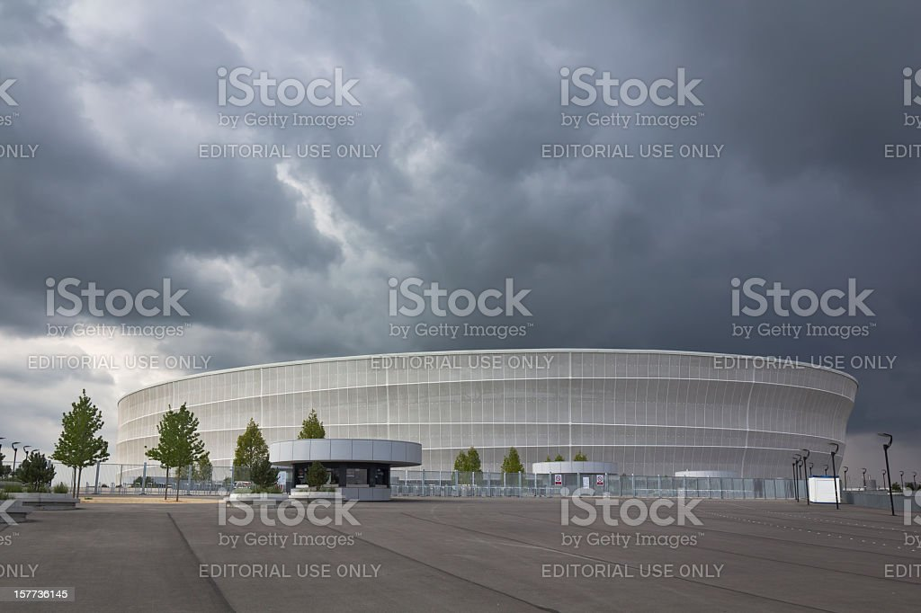 Storm clouds over the stadium football royalty-free stock photo