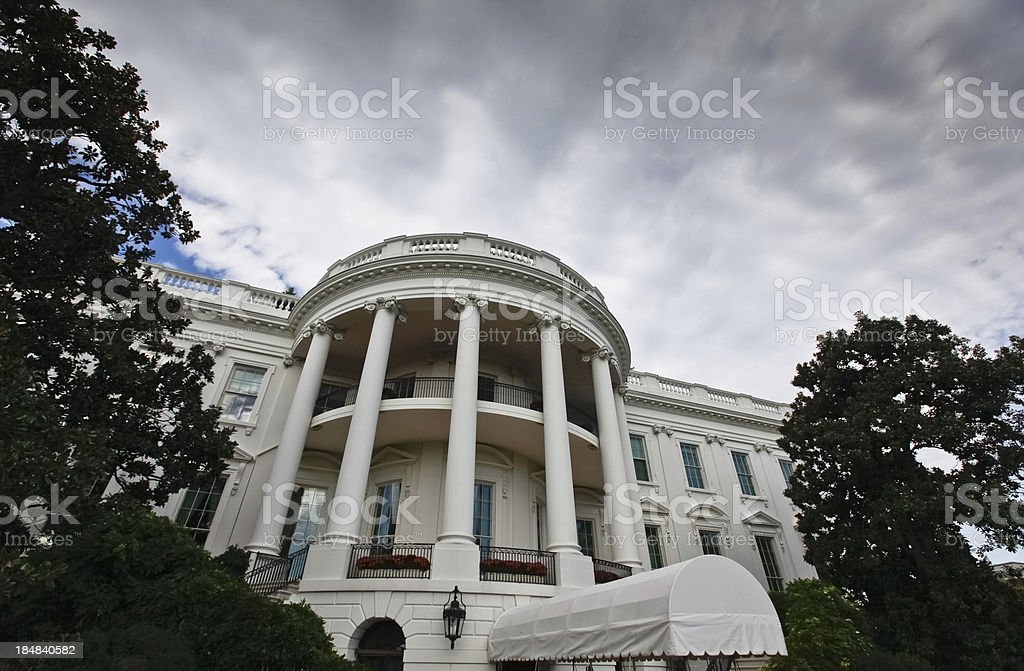 Storm Clouds Over the White House stock photo