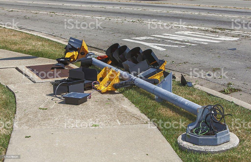 storm damaged traffic light royalty-free stock photo