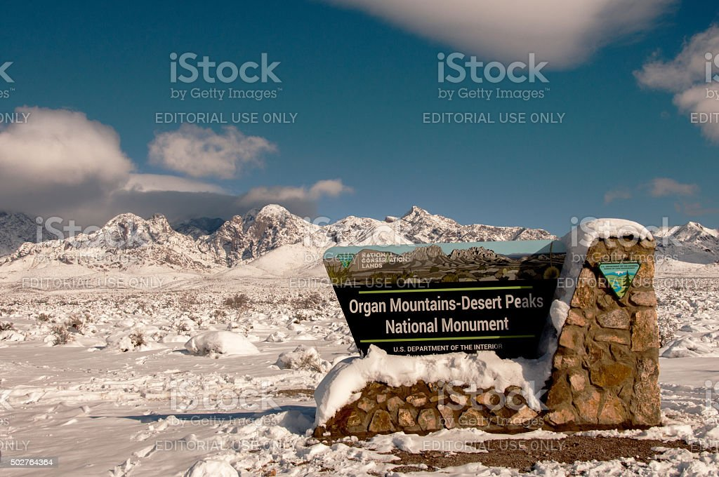 Storm Deposits Deep Snow in Organ Mountains of Las Cruces stock photo