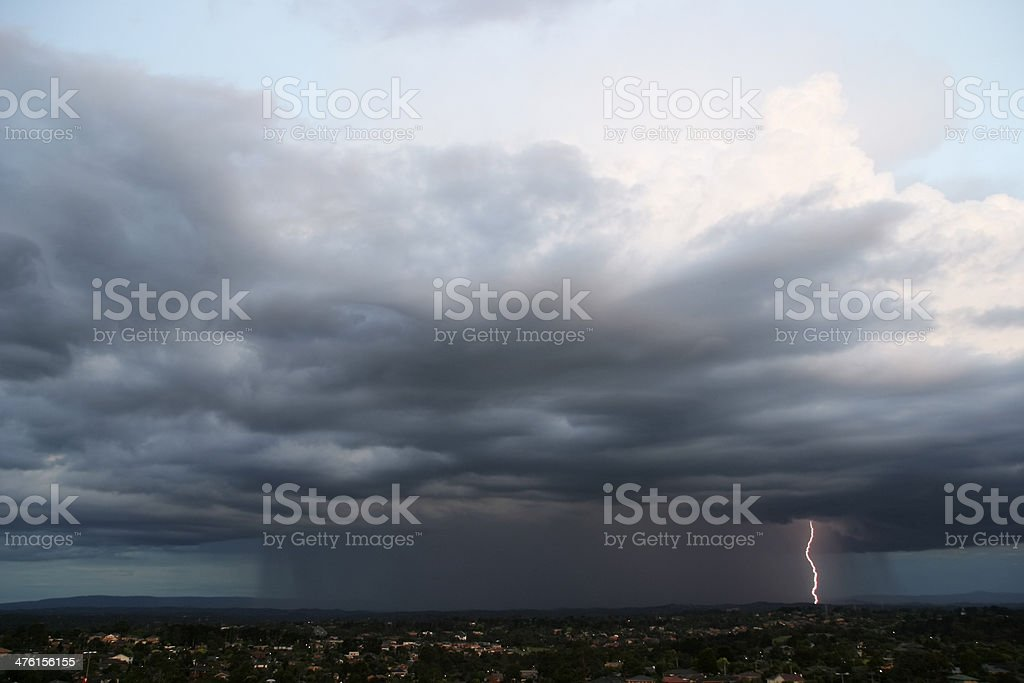 Storm downpour with lightning flash royalty-free stock photo