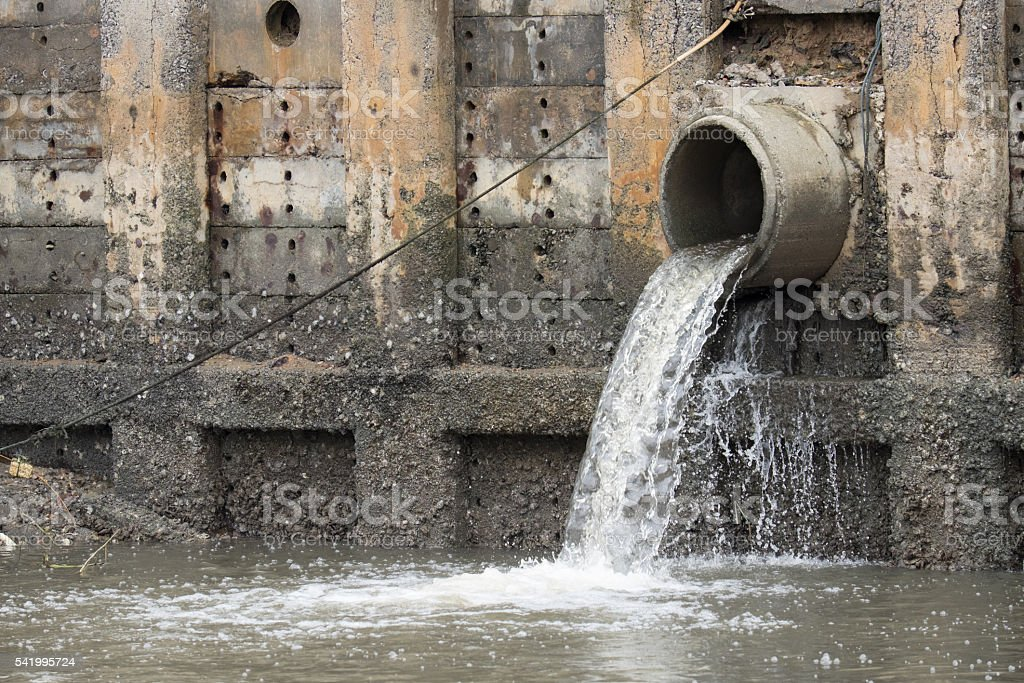 Storm Drain Outflow (stormwater, water, drainage) stock photo