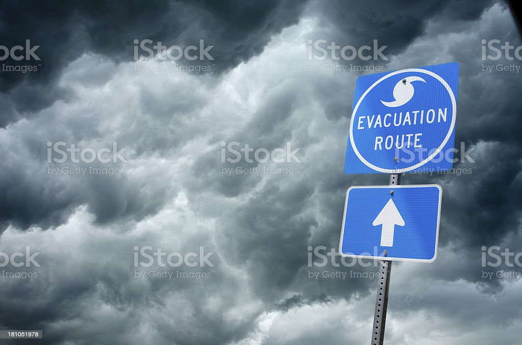 Storm Evacuation Route Road Sign stock photo