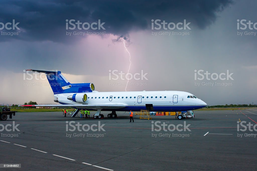 Storm in a provincial airport royalty-free stock photo