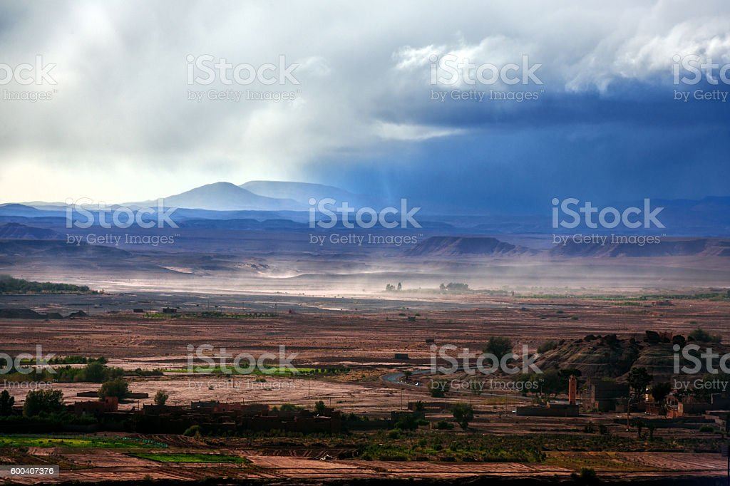 Storm in Aït Ben Haddou, Moroccan Desert ,Ouarzazate,Morocco, Africa. stock photo