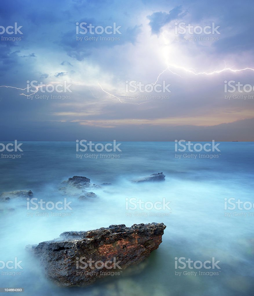 Storm in sea royalty-free stock photo