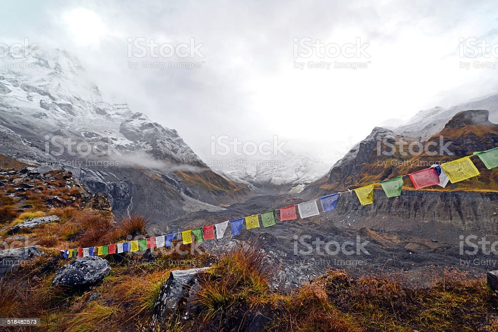 Storm in the Annapurna Base Camp, Nepal stock photo
