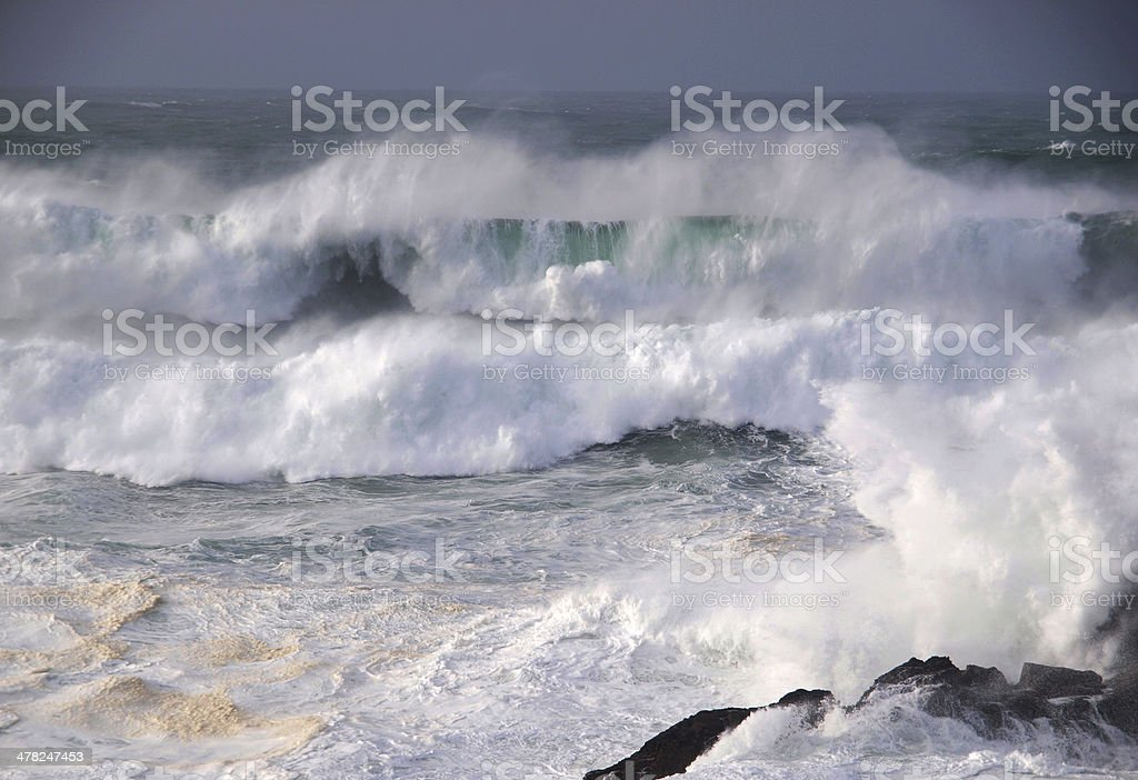 Storm in the Galician coast stock photo