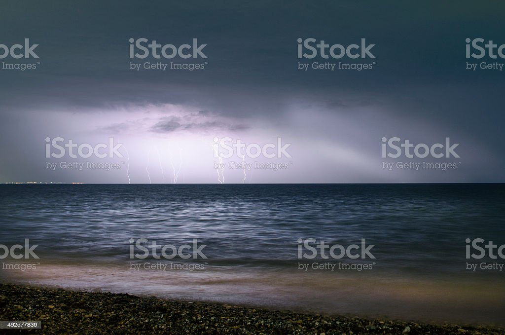 Storm in the sea stock photo