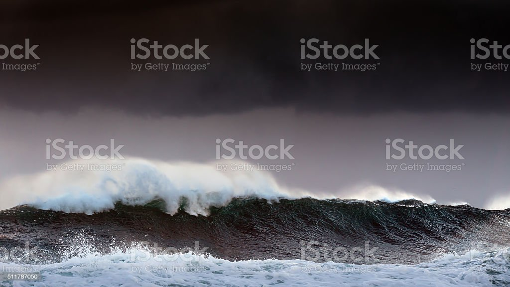 storm in the sea with big waves stock photo