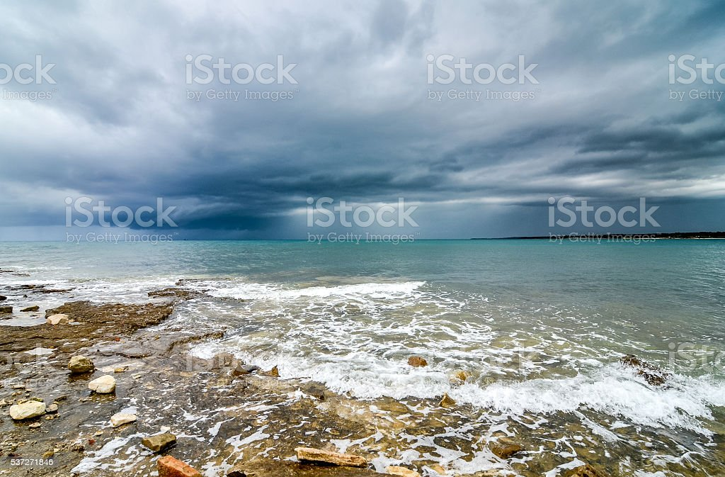 Storm is about to hit the coast of Croatia. stock photo