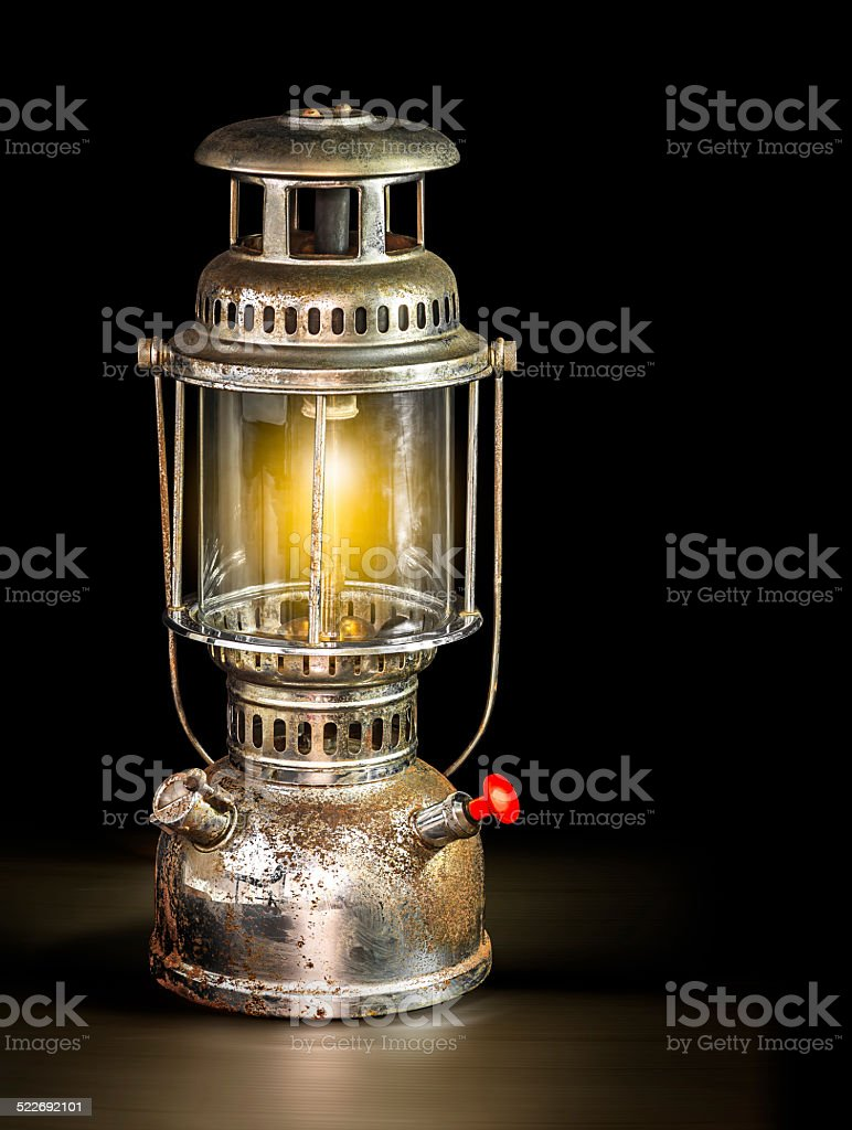 Storm lantern on black background stock photo