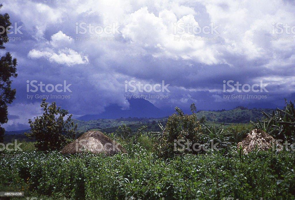 Storm Mikeno Volcano Virunga Mountains Democratic Republic of Congo Africa stock photo