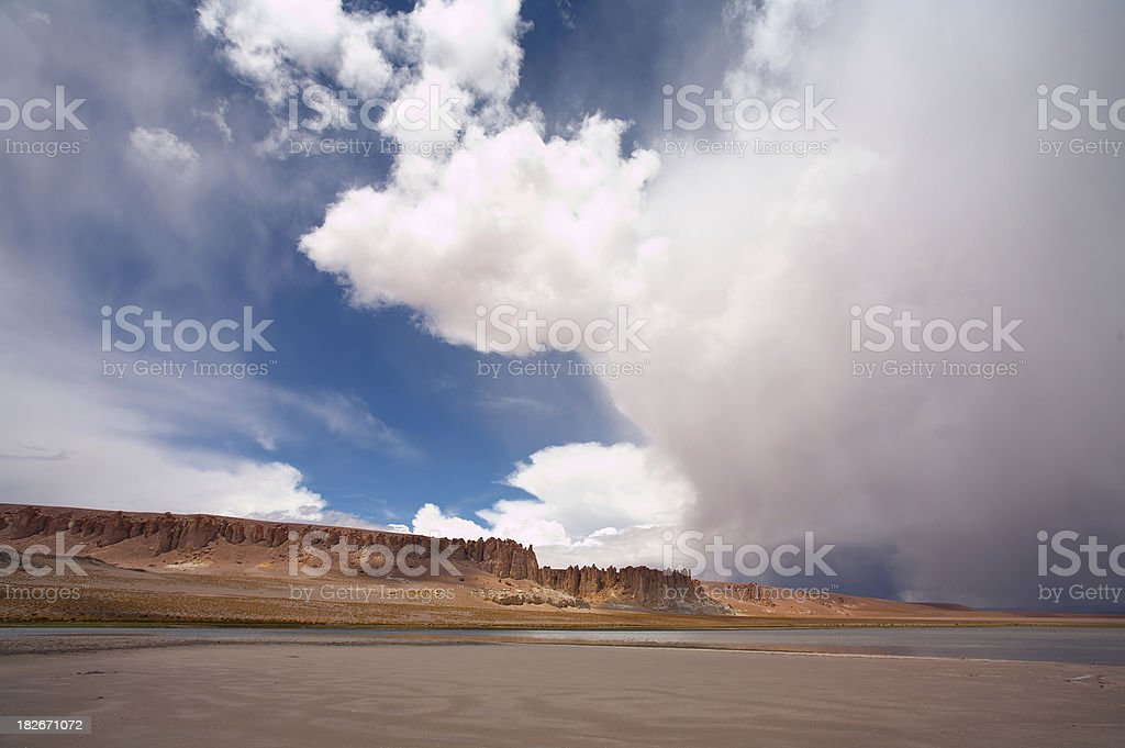 Storm near Salar de Altiplano - Atacama, Chile stock photo