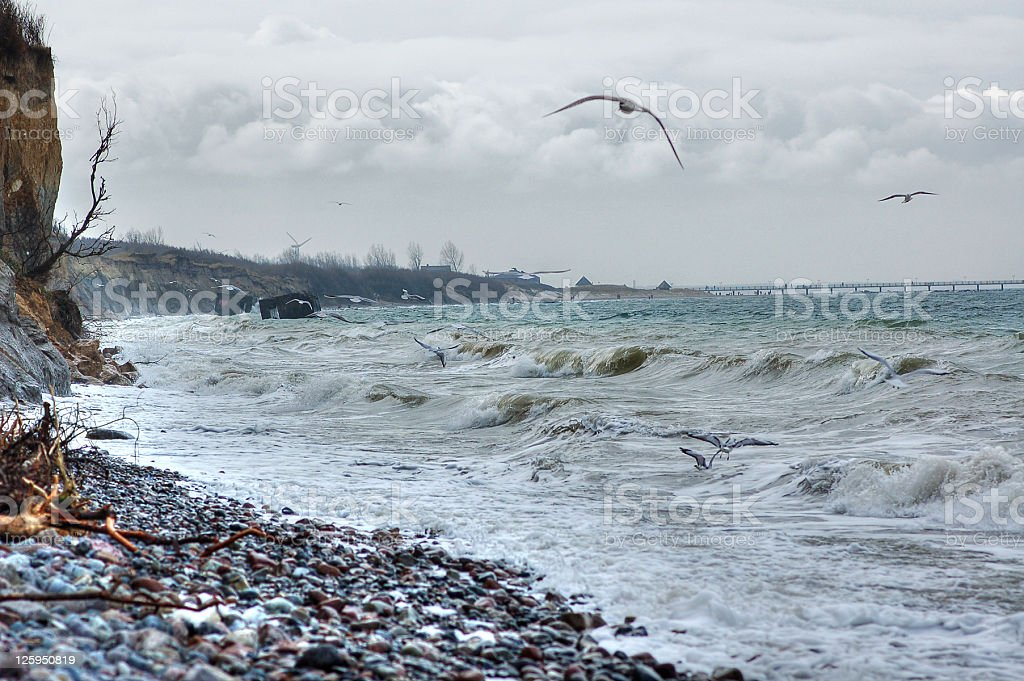 HDR - storm on a cliff at baltic sea royalty-free stock photo