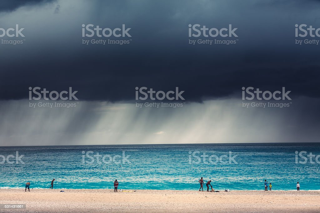 Storm On The Beach stock photo