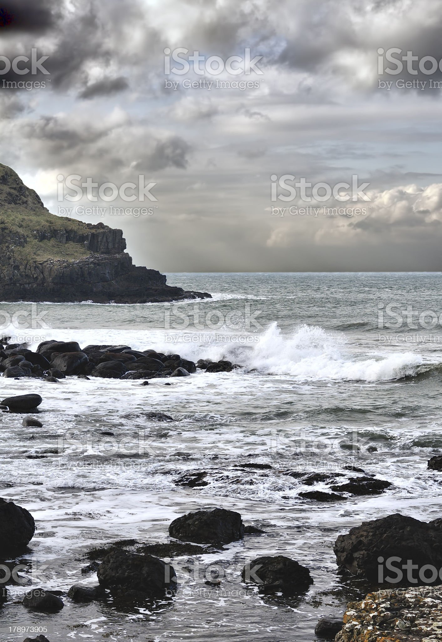 Storm on the coast of Northern Atlantic royalty-free stock photo