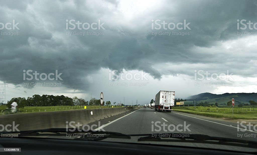 Storm on the road royalty-free stock photo