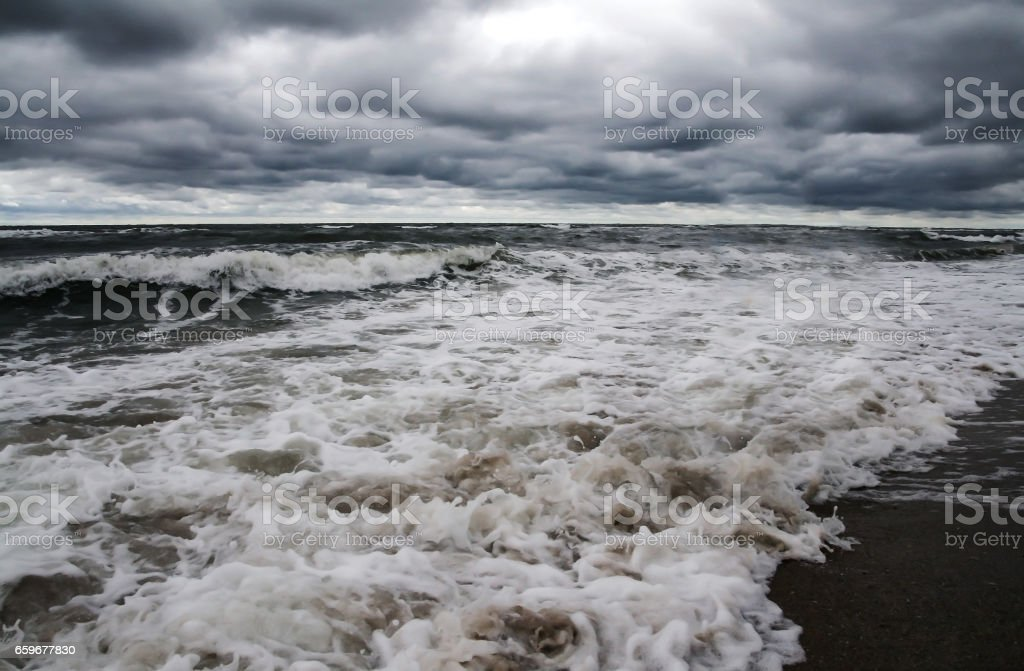 Storm on the sea a low stormy sea stock photo