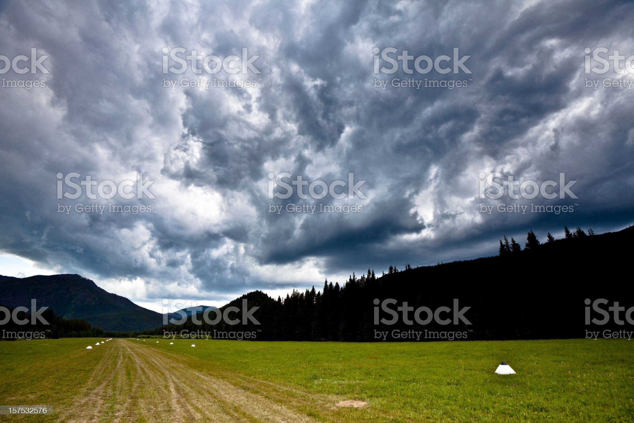 Storm over a wilderness landing strip royalty-free stock photo