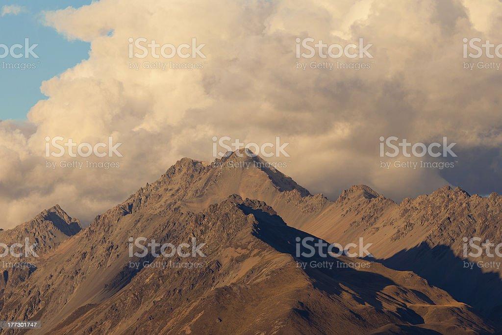 Storm over alpinre tundra mountain ridges royalty-free stock photo