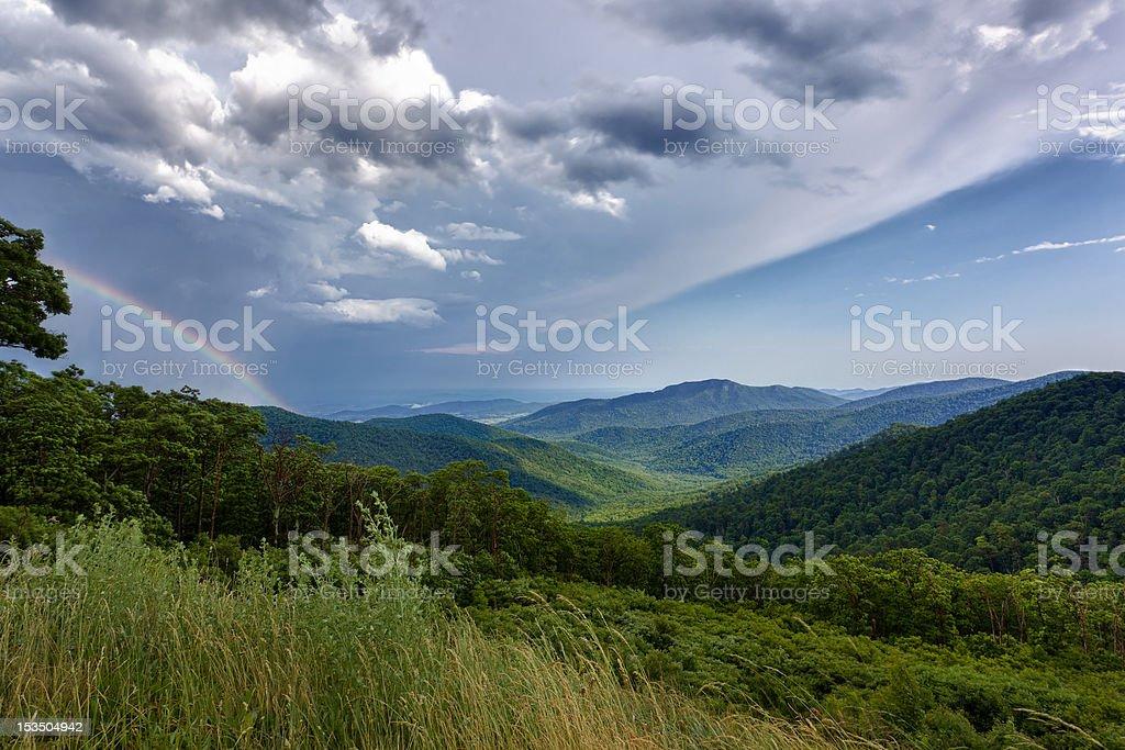 Storm over Blue Ridge Mountains stock photo
