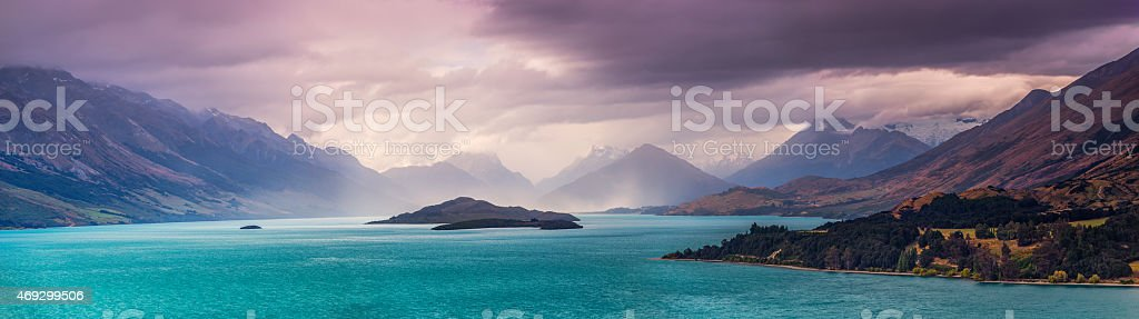 Storm over Glenorchy Panorama stock photo