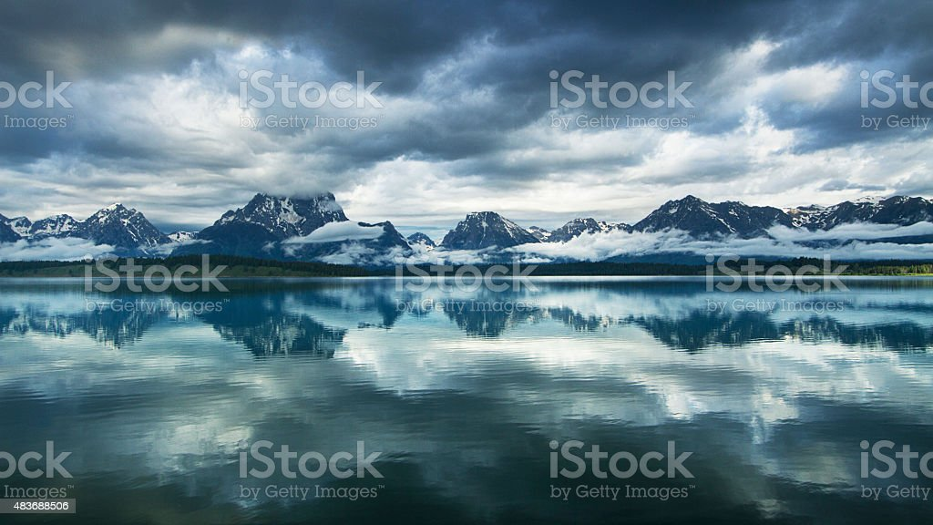 Storm over Great Teton Mountains stock photo