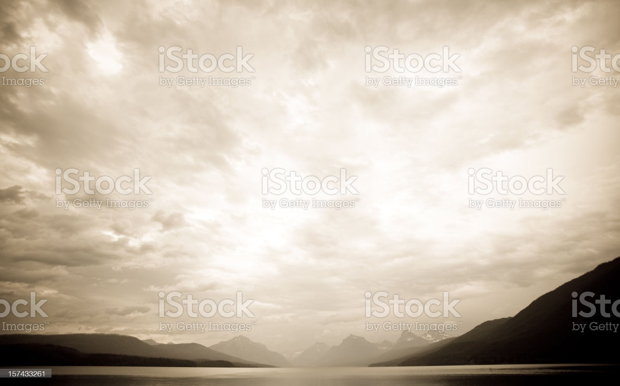 Storm over lake Mcdonald royalty-free stock photo