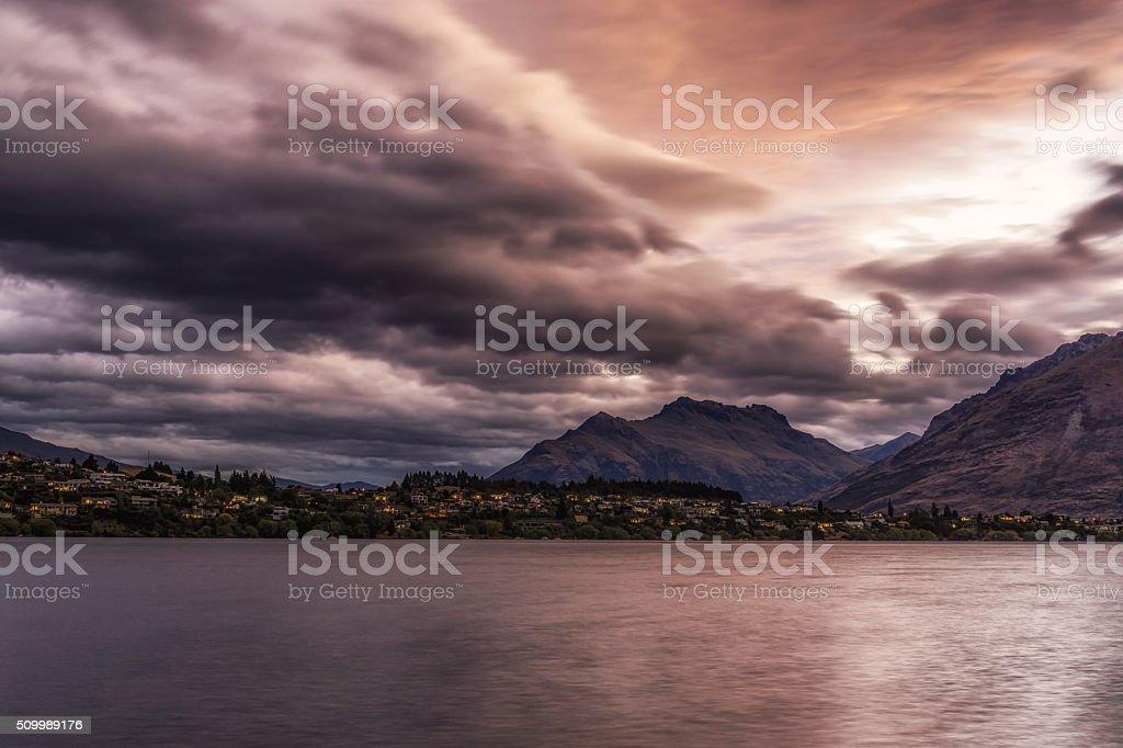 storm over lake wakatipu stock photo