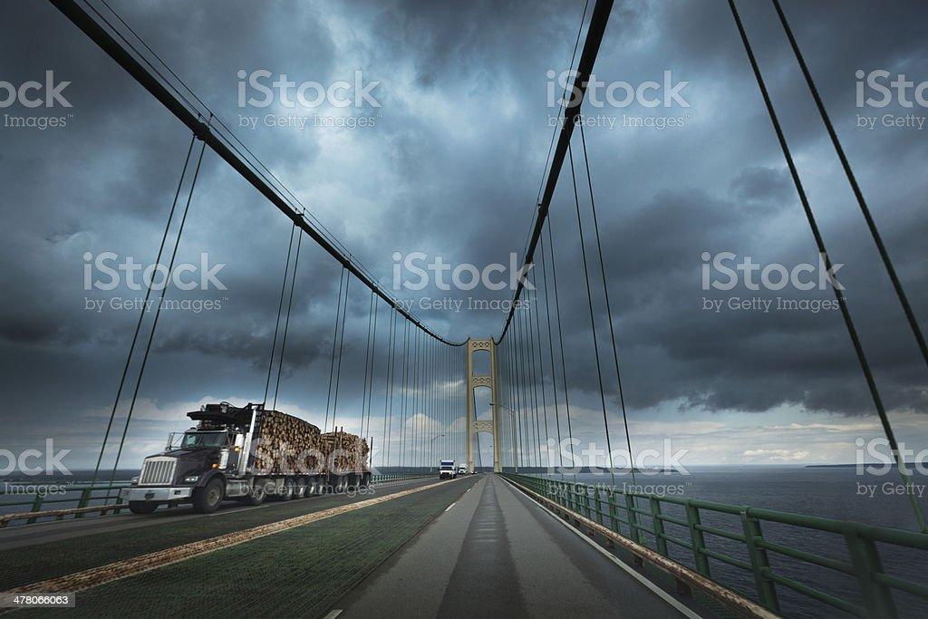 Storm Over Mackinac Bridge in Upper Peninsula of Michigan USA stock photo