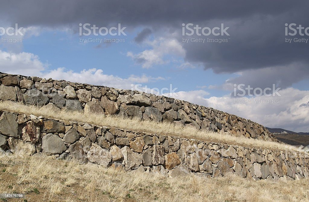 Storm Over Retaining Wall royalty-free stock photo