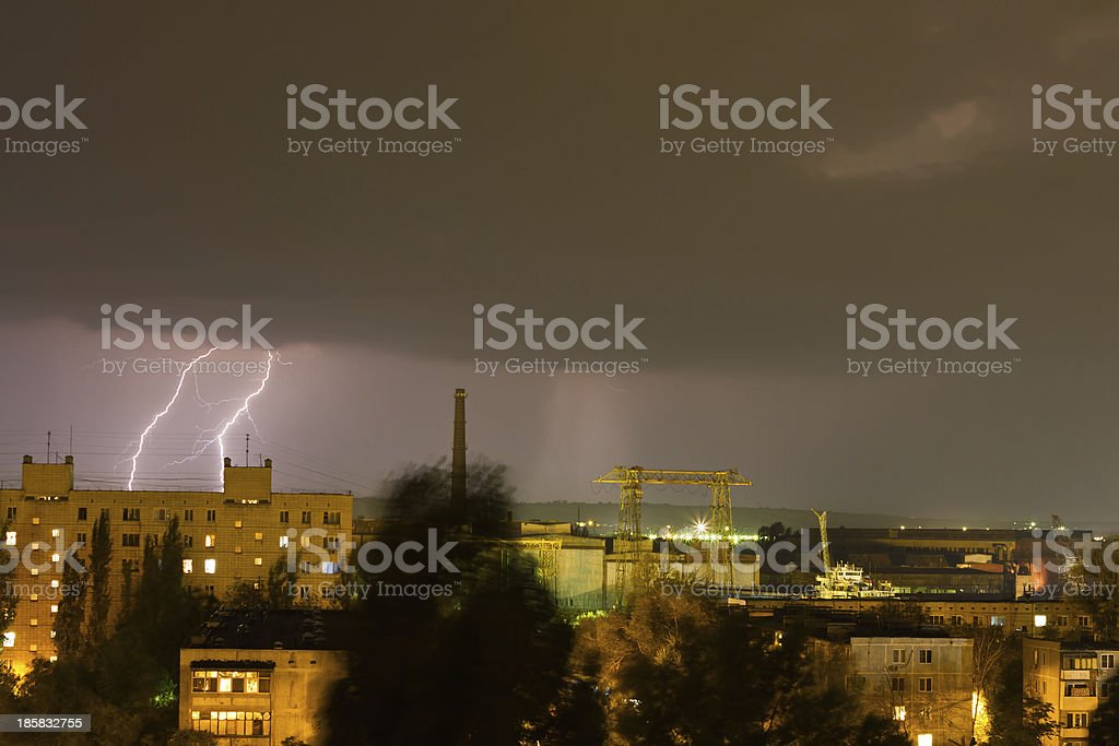 Storm over the city. Lightning flashed stock photo