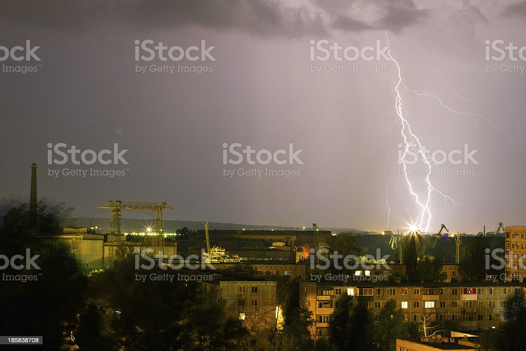 Storm over the city. Lightning flashed royalty-free stock photo