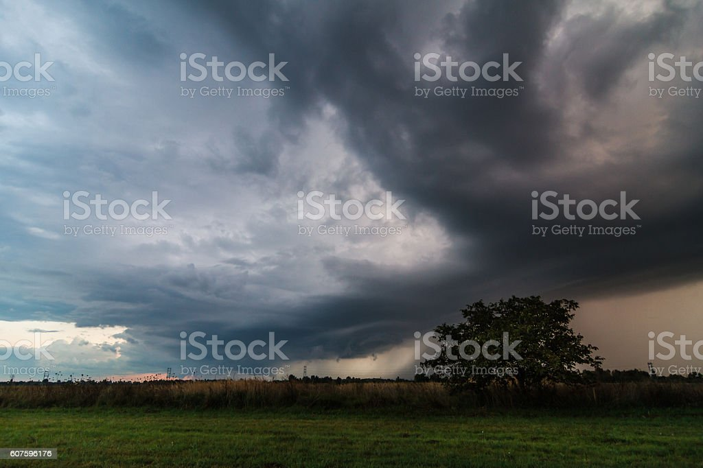 Storm over the countryside field stock photo
