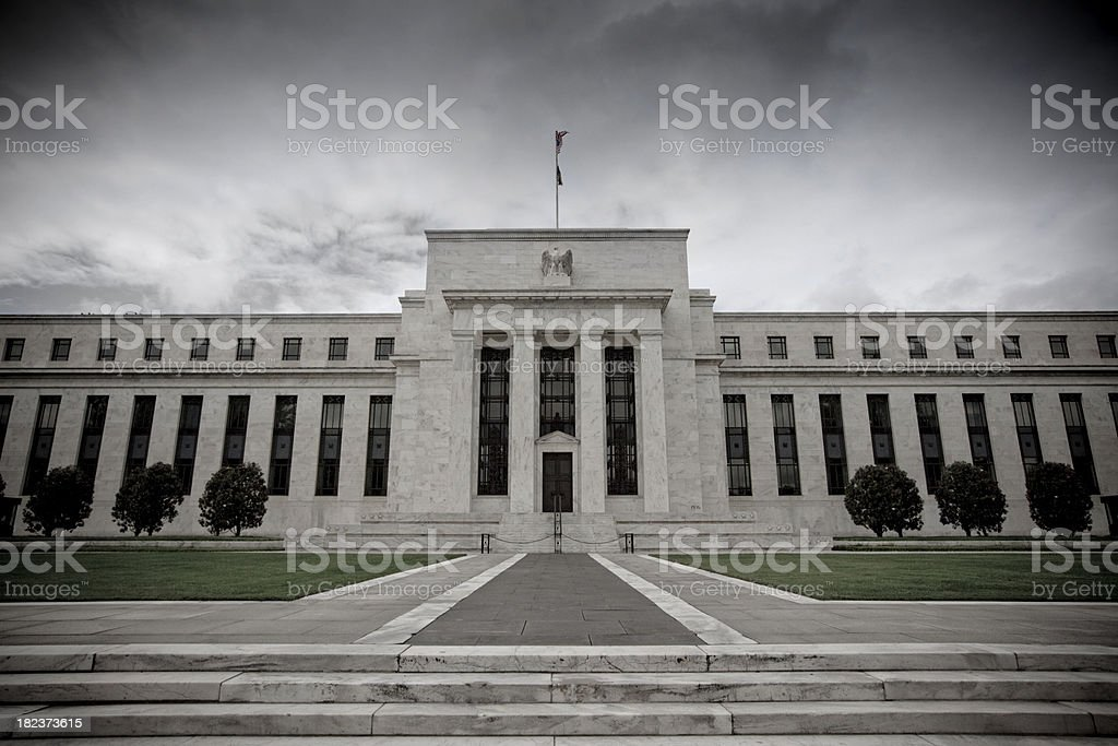 Storm over the Federal Reserve stock photo