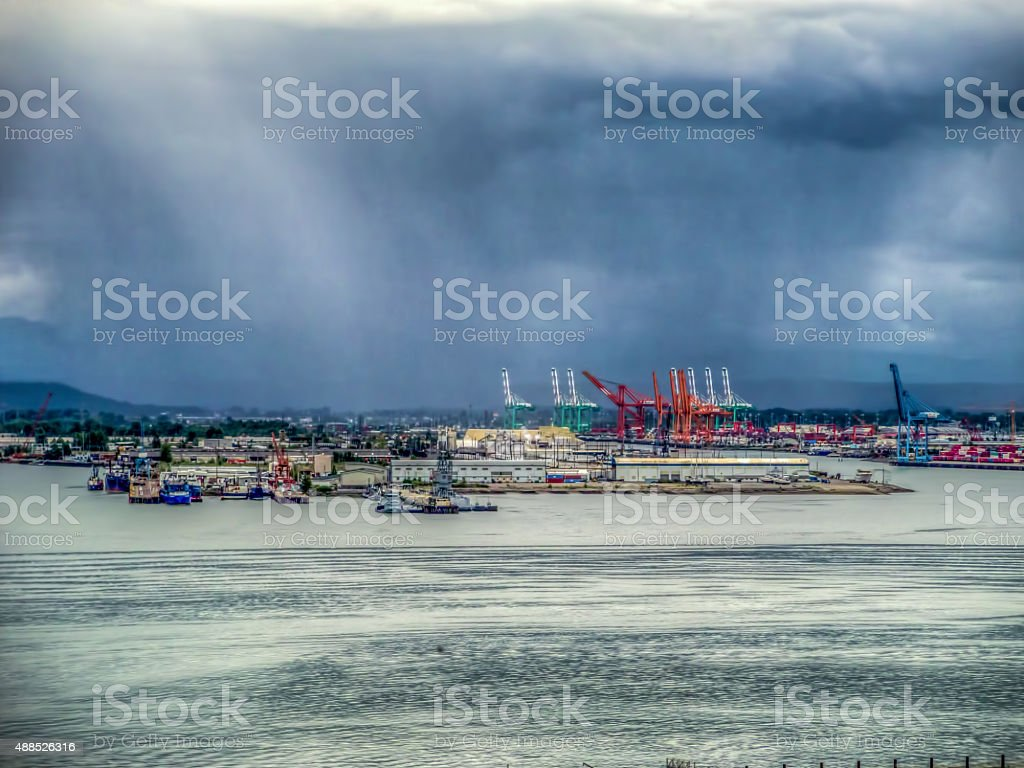 Storm Over The Port Of Tacoma - HDR stock photo