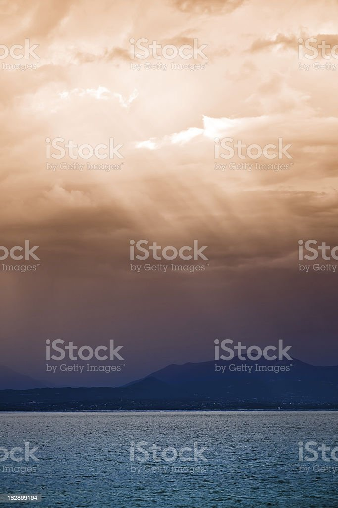 Storm over the sea at sunset royalty-free stock photo