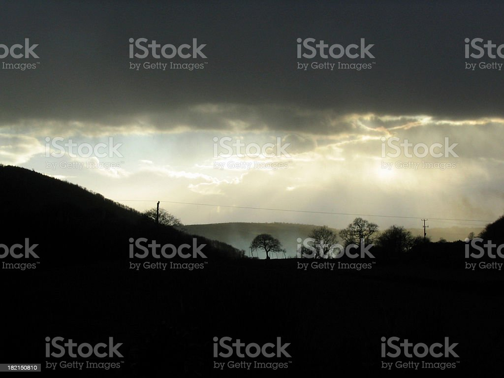 storm over Welsh valley royalty-free stock photo