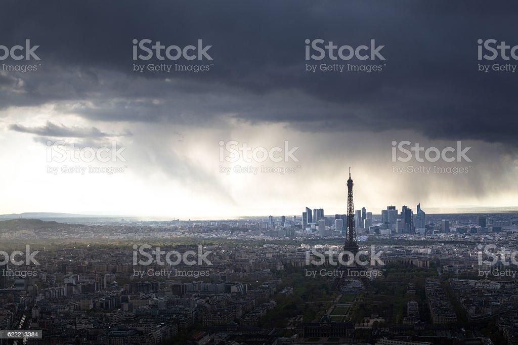storm rain on Paris centre Eiffel tower and La Defense stock photo