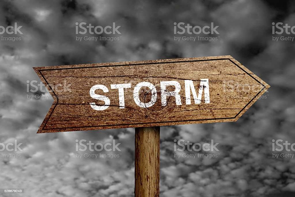 Storm Road Sign stock photo
