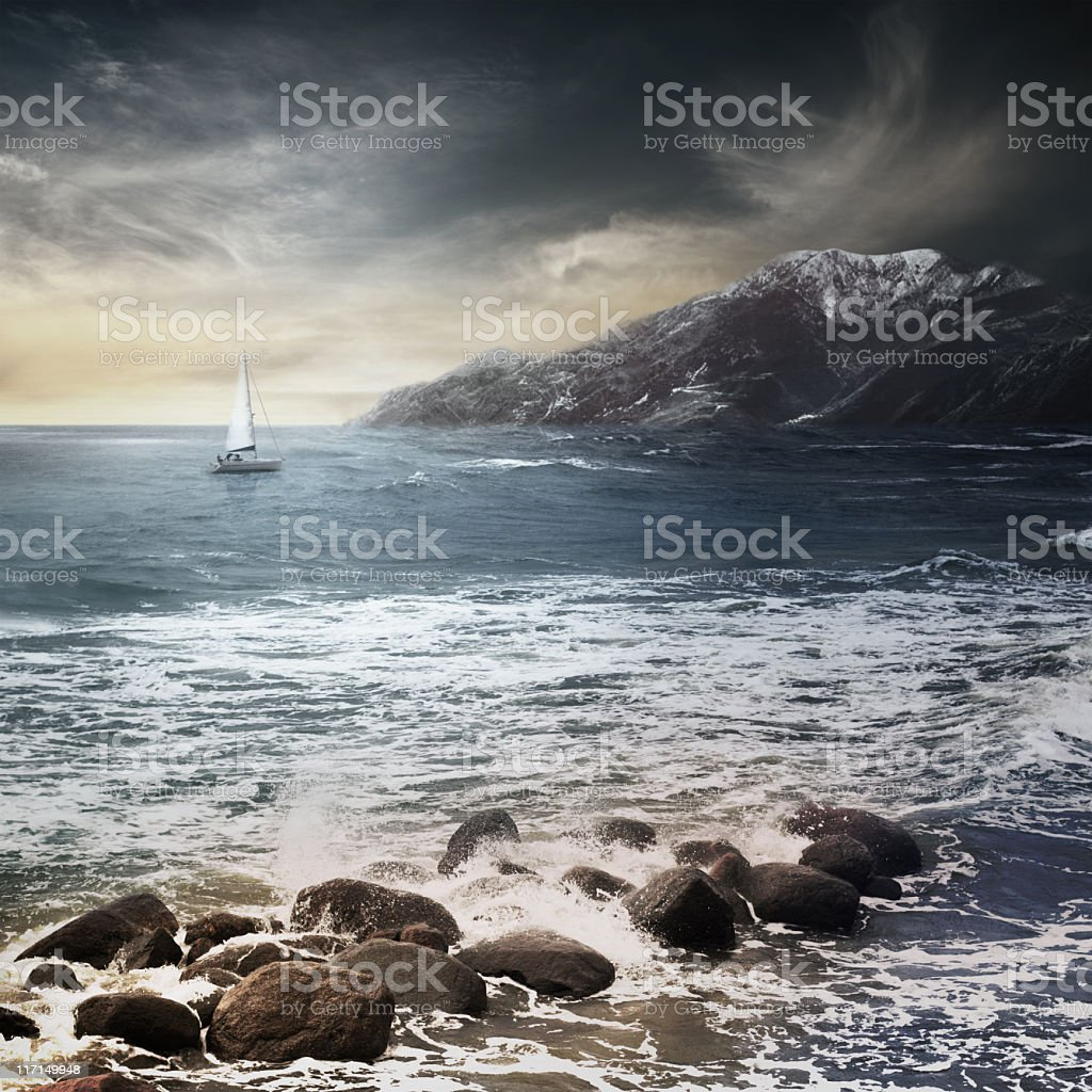 Storm sea with white boat royalty-free stock photo