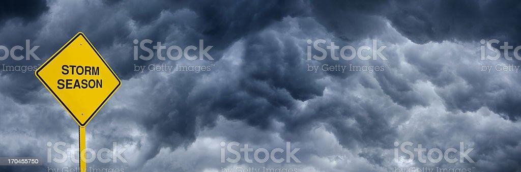 Storm Season Caution Sign royalty-free stock photo