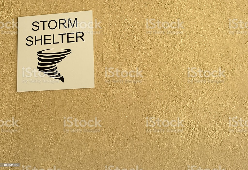 Storm Shelter Sign stock photo