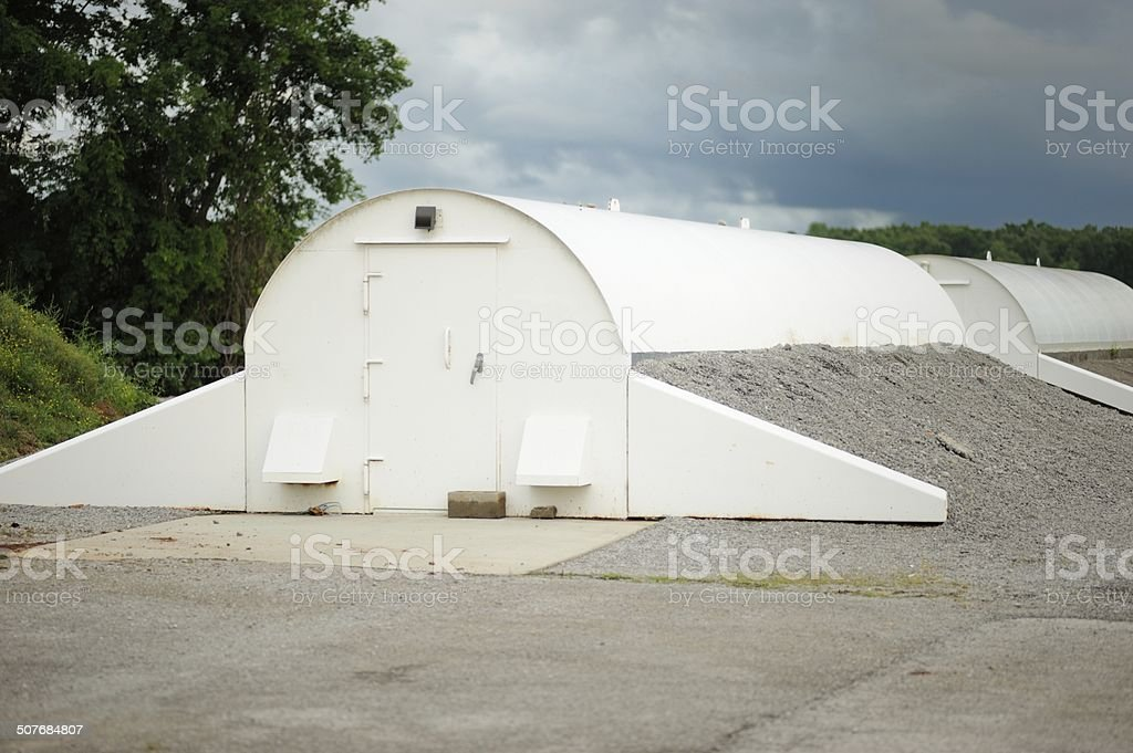 Storm shelters with clouds stock photo