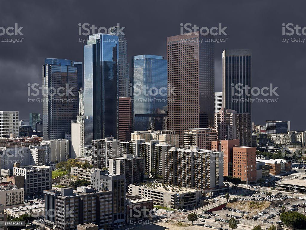 Storm Sky Los Angeles Downtown royalty-free stock photo