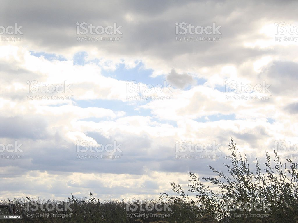 Storm Sky with Silhouetted Foreground royalty-free stock photo