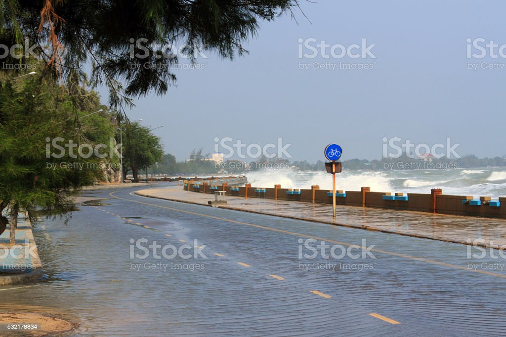 storm surge a rising of the sea stock photo
