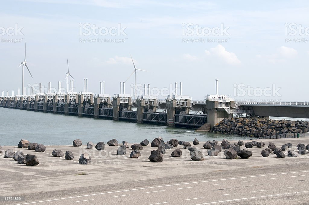 Storm surge barrier in The Netherlands stock photo